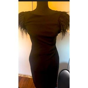 Black dress with feathers on sleeve